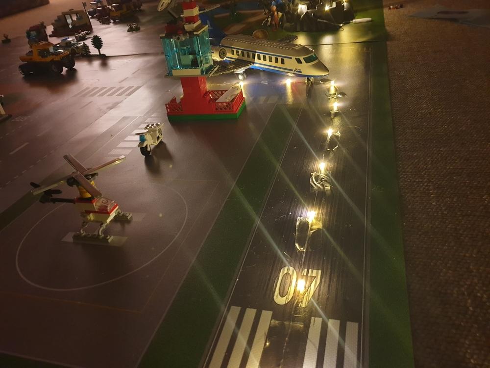 speelmat landingsbaan met lampjes